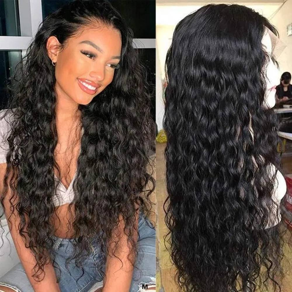 34 Inches Water Wave Lace Frontal Wig 250% 13x4 Lace Front Wig Malaysian Virgin Transparent Lace Human Hair Wigs Curly Wig