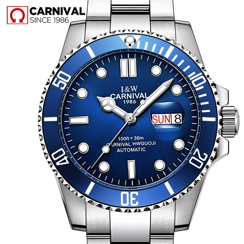 CARNIVAL New Fashion Men's Luminous Pointer Waterproof Business Calendar Stainless Steel Strap Automatic Watches Reloj Hombre