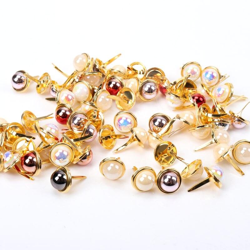 Diy AB perla de oro clavos redondos adorno Scrapbooking tarjeta DIY manualidad casera decoración de papel 12mm 20 piezas