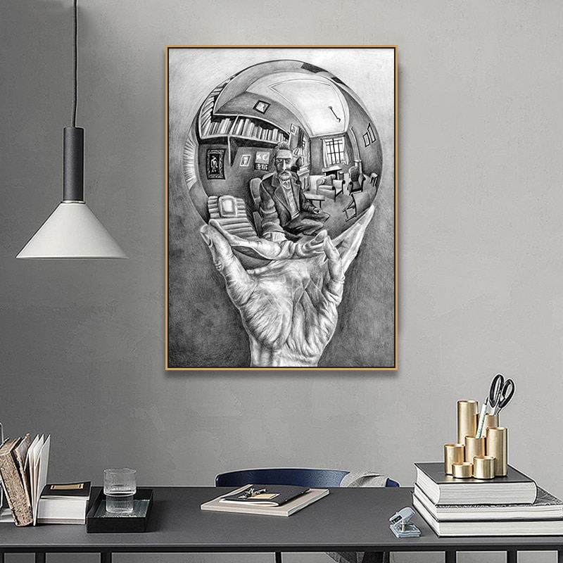 Impresiones carteles lienzo arte pared cuadros hogar Decoración mano con esfera reflectante por M. C escher Maestro de la pintura de ilusión