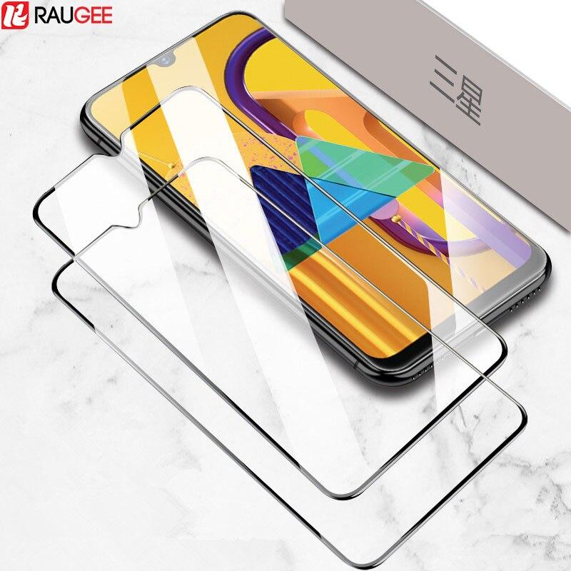 2 piezas de vidrio para Samsung Galaxy M31 M21 M30s vidrio templado HD cubierta completa película protectora de pantalla de pegamento para Samsung M30s M31 vidrio