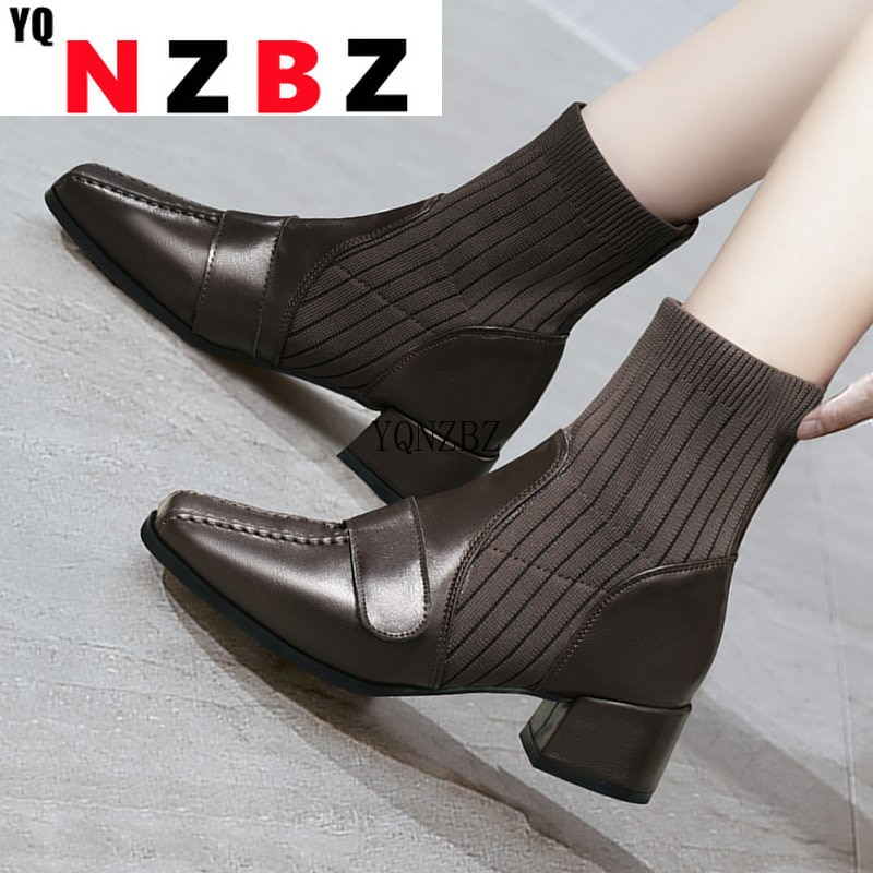 Women Mid Heels Boots Shoes 2021 New Winter Classic Designer Sexy Ankle Warm Lady Women Boots Casual