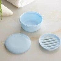 Boite a savon Portable  fournitures de voyage scellees  accessoires de salle de bains en plastique de forme ronde 1 pieces
