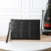 brand mens cowhide envelope bag soft leather casual woven handbag multi function luxury designer clutch bag purses wrist wallet