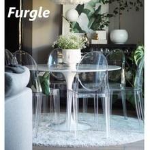 Furgle 2/4Pcs 현대 유령 사이드 의자 다이닝 룸 의자 투명 투명한 악마의 자 북부 플라스틱 크리스탈 메이크업 의자