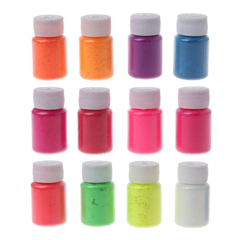12 Uds. Resina brillante fluorescente pigmento en polvo negro luz reactiva resina luminosa pigmento Kit fabricación de joyería 10g