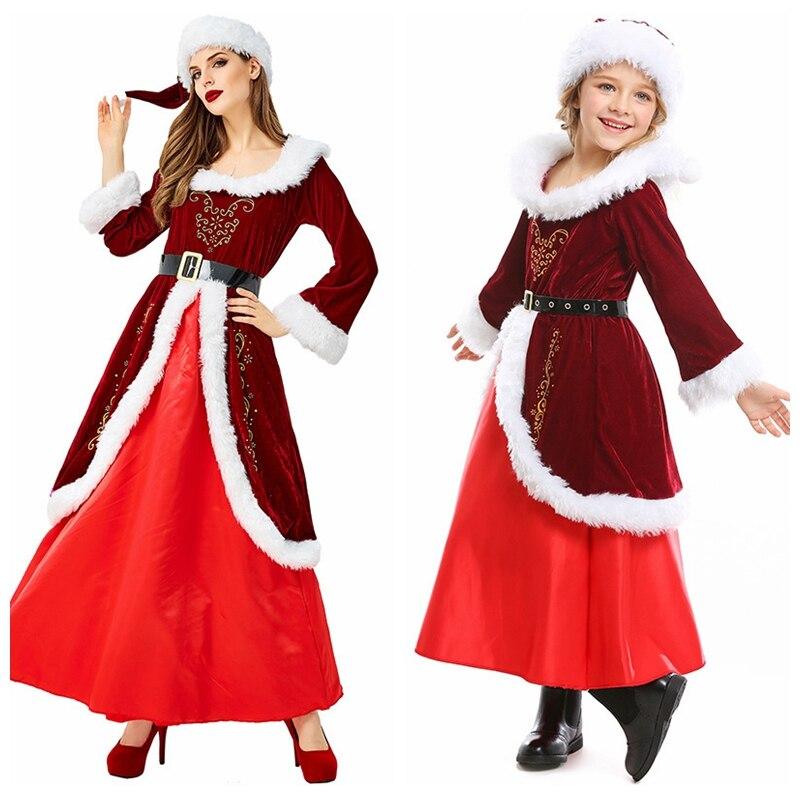 Trajes de natal cosplay família grupo rpg natal eve traje festa de manga longa vermelho disfraz para pai-filho
