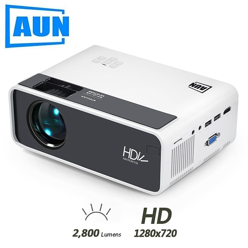 AUN-Miniproyector led para cine en casa modelo D60 y D60S, 2800 límenes,...