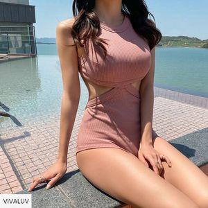 Sexy Solid Swimwear Women Vintage One Piece Swimsuit Female 2021 Bandage Monokini Bathing Suit Swim Wear Backless Korean