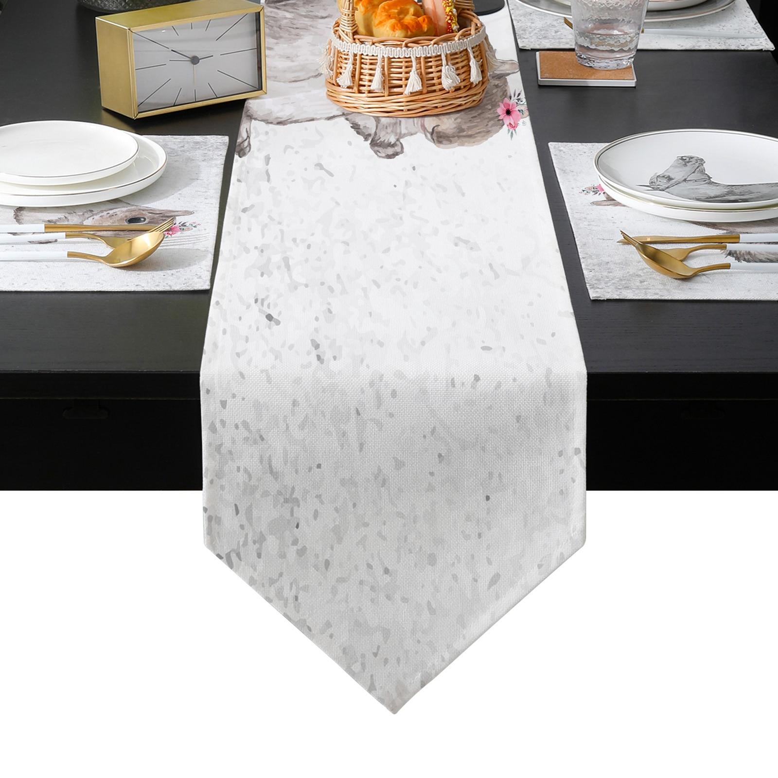 لطيف السنجاب المائية زهرة الحيوان الزفاف الجدول عداء الجدول حصيرة الجدول العلم الشاي غطاء الخزانة Tablecloth ديكور المنزل