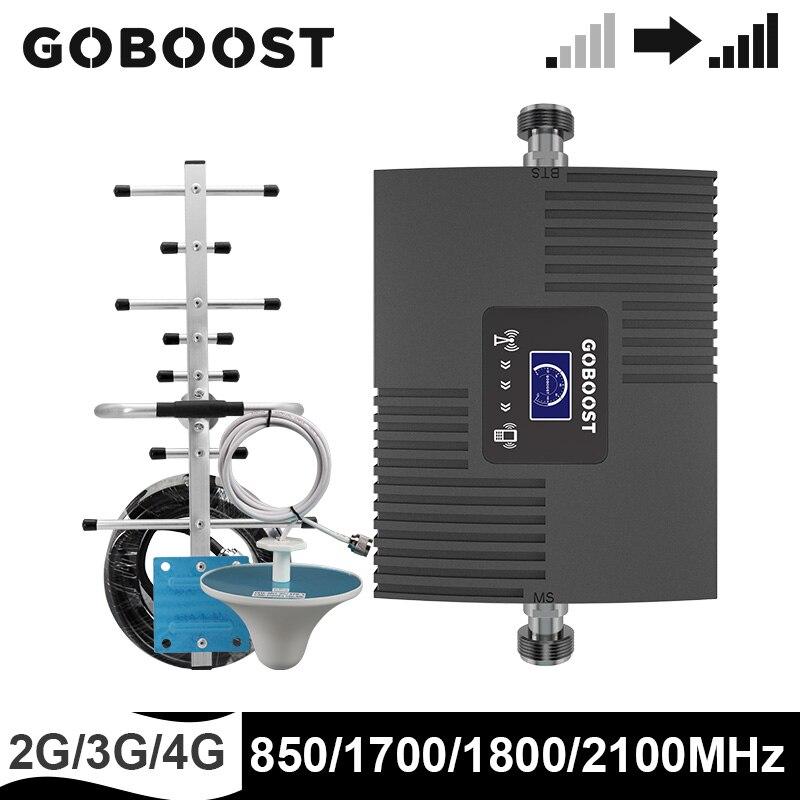 GOBOOST señal Kit de refuerzo 2g 3g 4g teléfono celular amplificador de 850, 1700, 1800, 2100 MHz teléfono móvil teléfono repetidor Band5 Band1 Band3 Band4