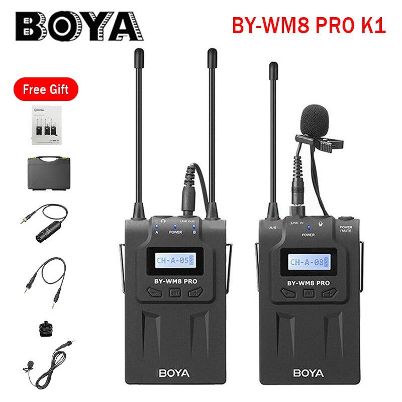 Receptor de Microfone sem Fio Sistema de Lavalier Gravador de Áudio e Vídeo para Câmera Canon e Nikon Boya Sony Profissional Wm8 Pro-k1k2 Uhf