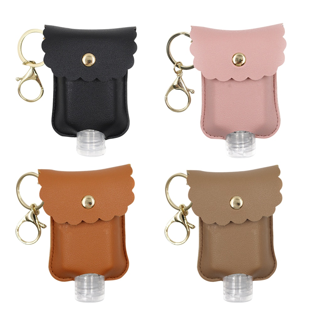 60Ml Leak Proof Plastic Travel Bottle with Leather Keychain for Hand Sanitizer Essential Oil Refillable Bottle Clips Diaper Bag