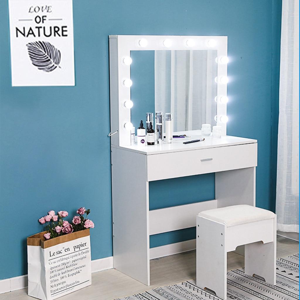 Juegos de tocador para placa de dormitorio tocador con espejo iluminado acolchado taburete tocador # C