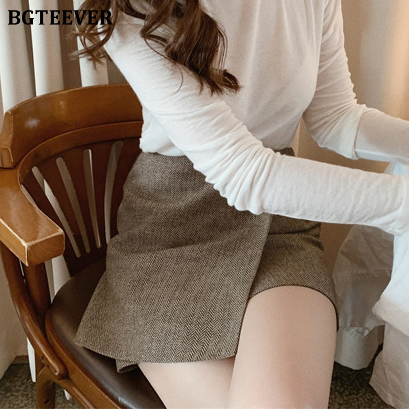 Vintage Striped Women Short Skirt Elegant High Waist Zipper Up Solid Slim Thick Female A-line Skirt Autumn Winter Ladies Skirt
