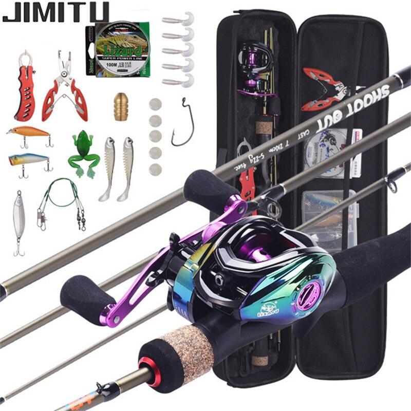 JIMITU 1.8-2.1m Telescopic Casting Fishing Combo Portable Ultralight Rod and 8.1:1 Gear Ratio Fishing Reel Fishing Combo enlarge