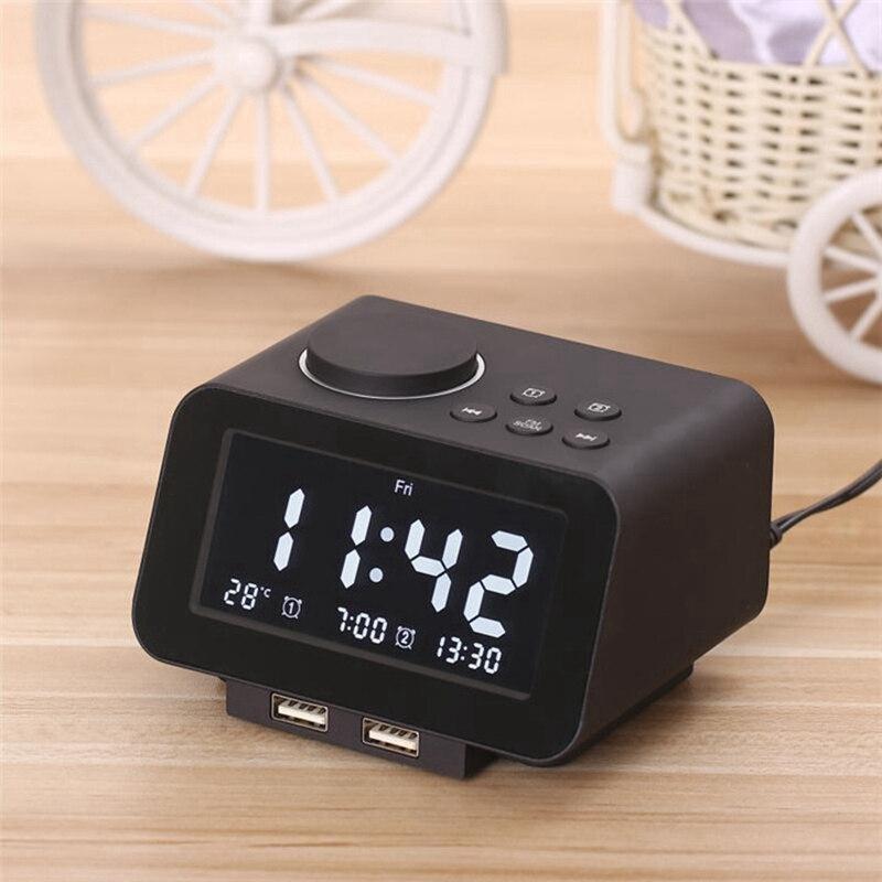 ¡Oferta! Altavoz K8 con Bluetooth, despertador Despertador con pantalla LED de temperatura, Radio FM, puerto de carga USB Dual para Iphone Samsung Tablet