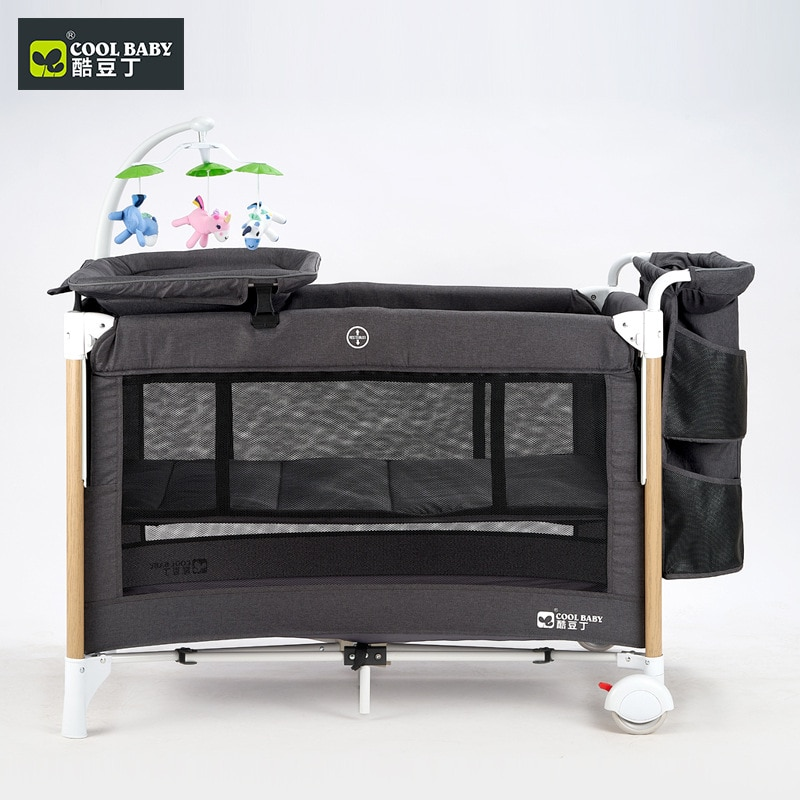 Cool Baby Crib Multi-function Folding Portable Baby Bed Cradle Bed Movable Baby Stitching Bed enlarge