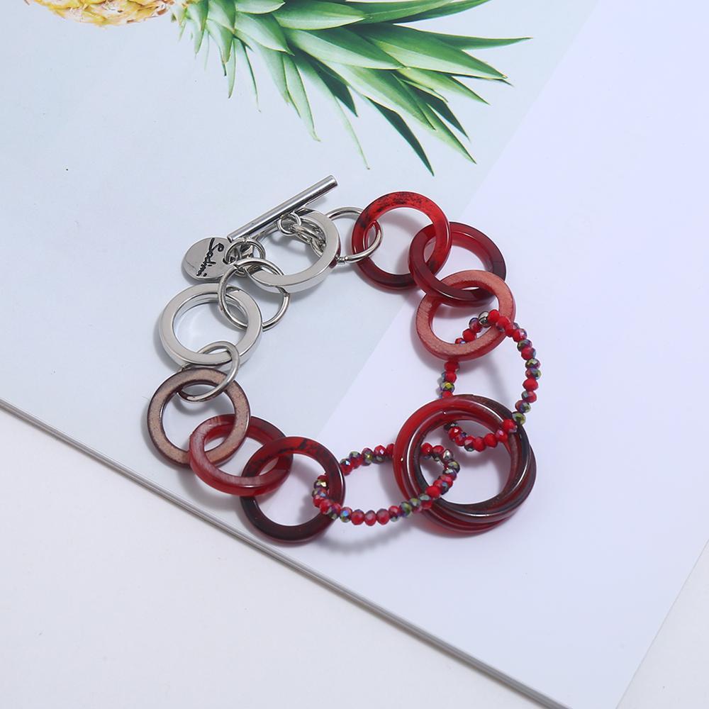 Boho rojo acrílico cadena encanto chakra pulsera femme pulseras para mujeres pulseras mujer moda 2019 Bileklik pulseira accesorios