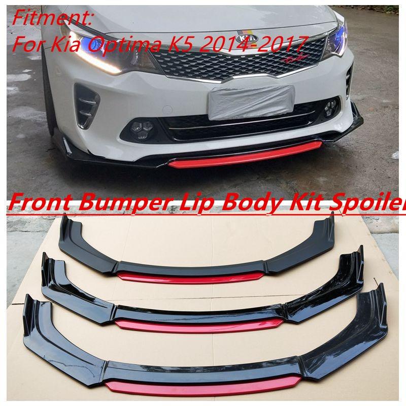 Alerón de parachoques delantero Protector placa labio cuerpo Kit carbono superficie Chin pala diseño de contraste de Color para Kia Optima K5 2014-2017