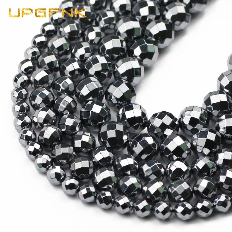 Upgfnk 64 lado facetado titanium hz pedra natural magnética redondo minério encantos grânulos soltos para fazer jóias 6/8/10mm pulseiras diy