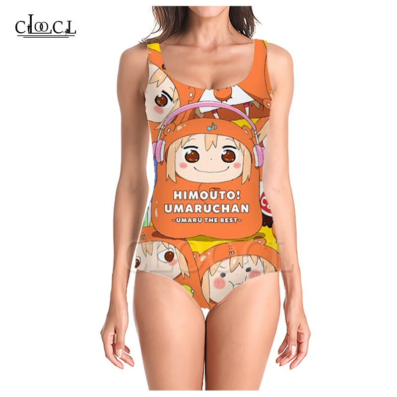 CLOOCL himuto Umaru-chan Aqua y Megumin estampado 3D chicas de una sola pieza traje de baño sin mangas Delgado Sexy mujer traje de baño