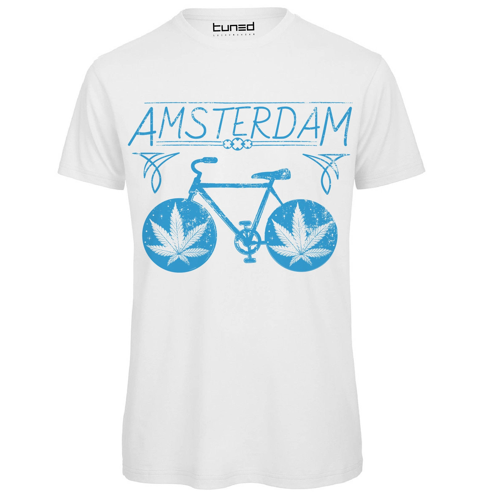 Camiseta divertida Uomo Maglietta Con estampa irónica Bicicletta Amsterdam hombres Tuned camiseta...
