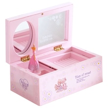 Music Box Rotating Jewelry Storage Case Rectangular Clear Musical Toy for Kids Girls Music Theme Mus