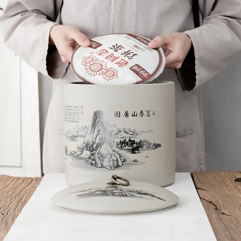 الخشنة الفخار سبعة كعكة علب الشاي المنزلية كبيرة المواد الطبية التوابل أوعية الحفظ بوير شاي أبيض الاستيقاظ الشاي العلبة