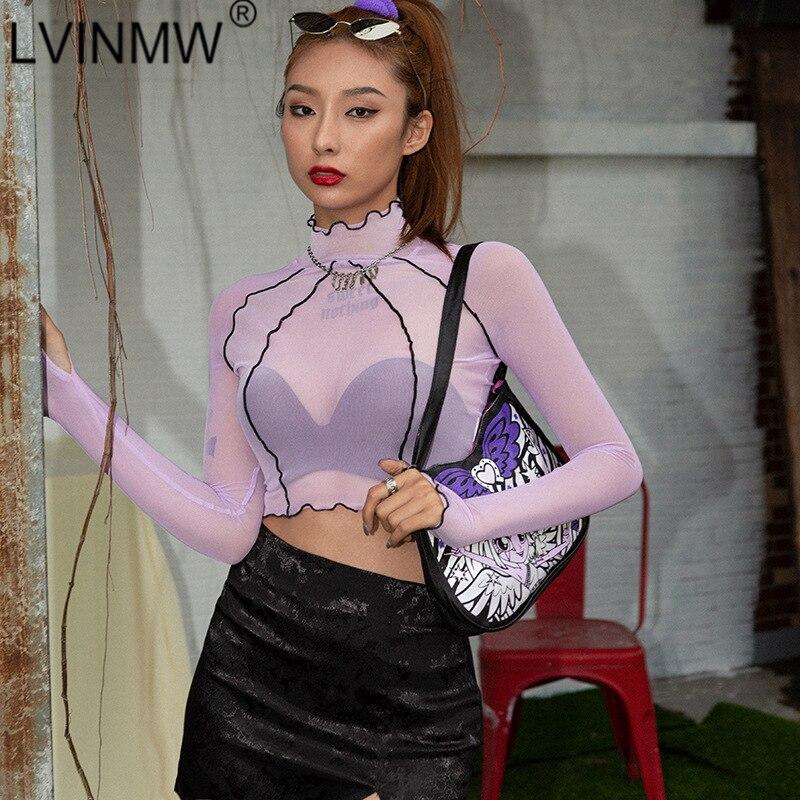 LVINMW 2020 Sexy púrpura de malla transparente a través de la línea de retazos de manga larga Crop TopFashion cuello falso volantes Slim camiseta femenina de fiesta