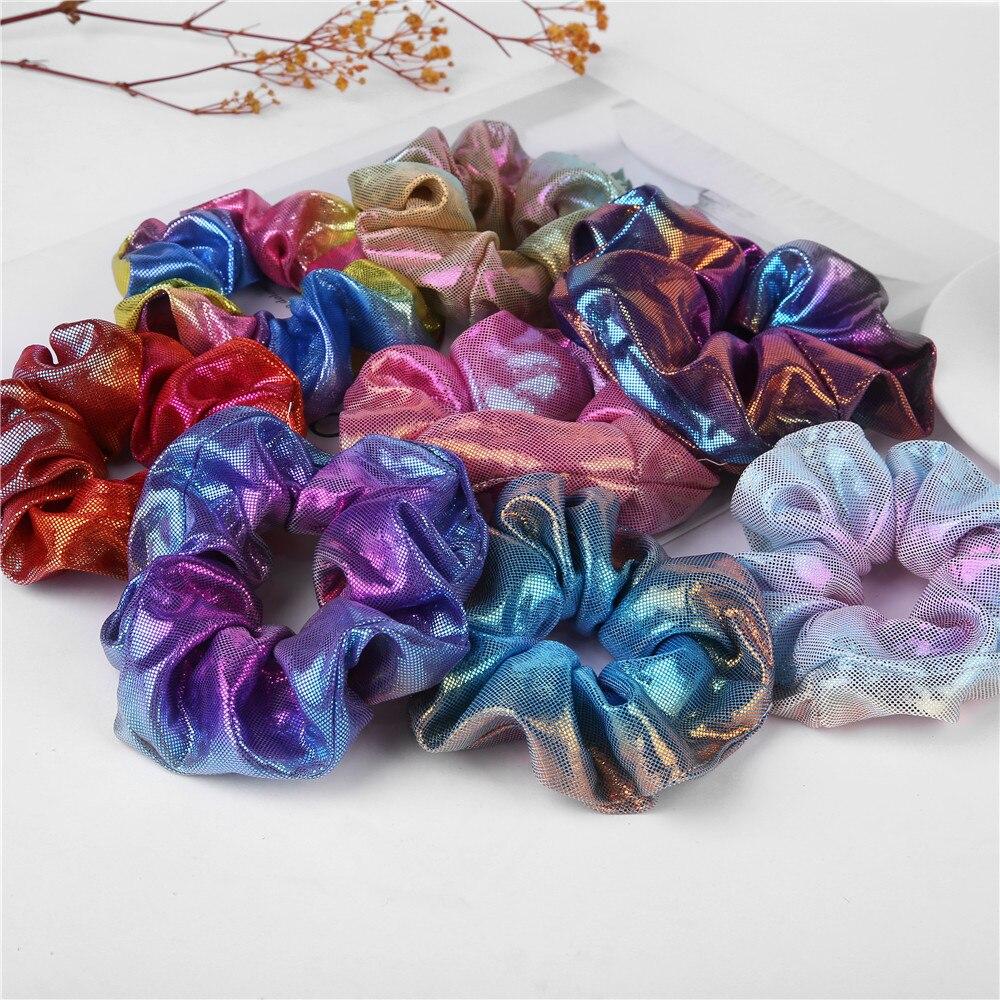 1PC Change Color New Fashion Women Colorful Elastic Bronzing Hair Rope Glitter Ponytail Holder Hair Ring Scrunchie  korean