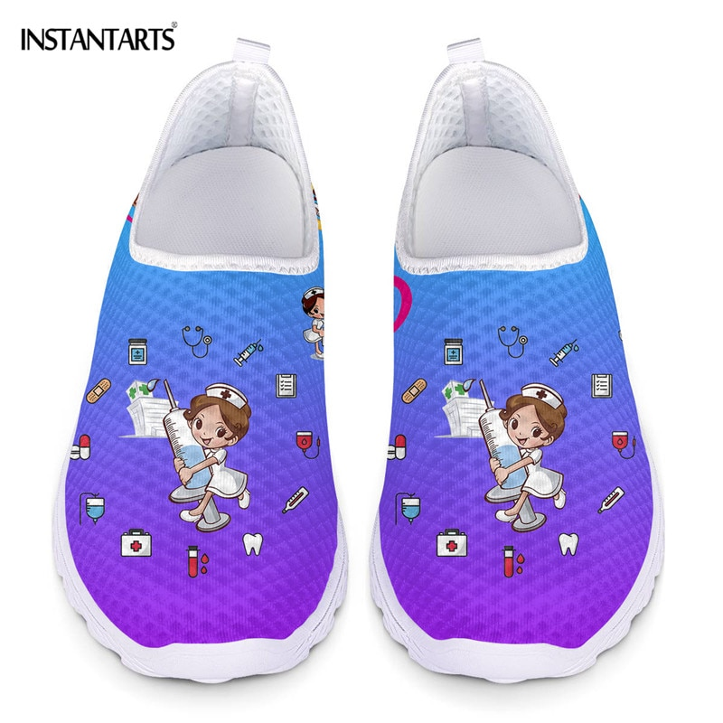 أحذية نسائية رياضية جديدة من instanots برسوم كارتونية مطبوعة أحذية شبكية خفيفة الوزن قابلة للتنفس أحذية رياضية Zapatos planos