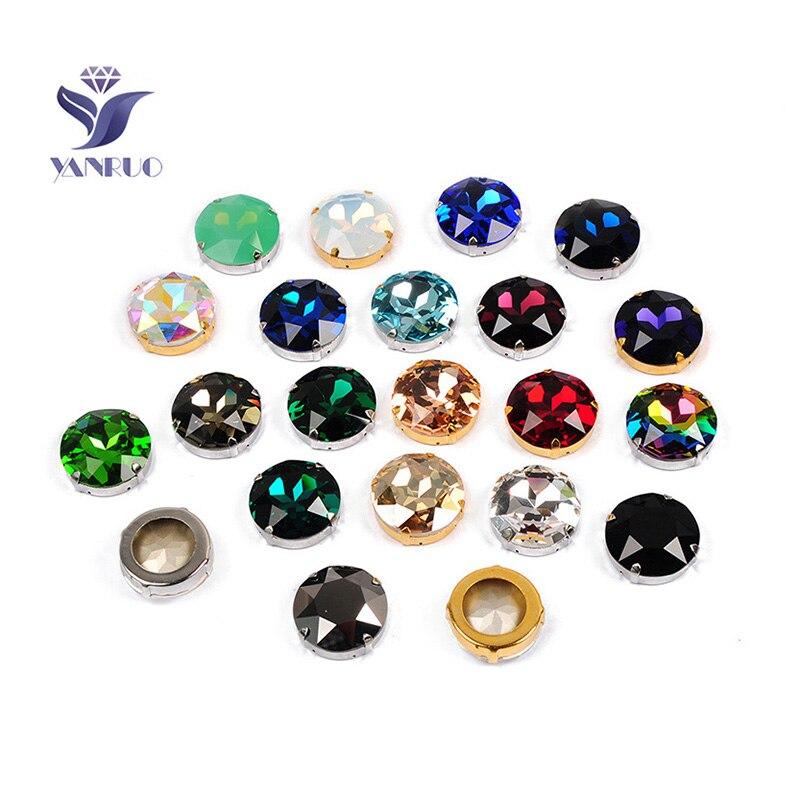 Yanruo 1201 redondo 27mm pedras costuradas cristais de vidro grandes strass rivoli pointback diy pedras de diamante para jewlery roupas