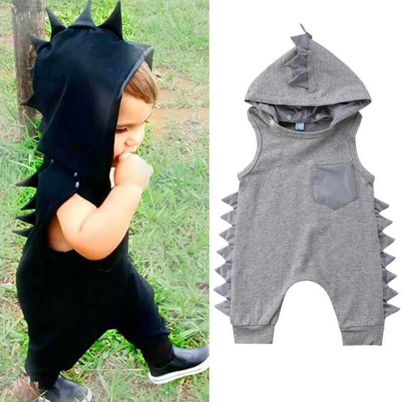 Baby Girl Dinosaur Hooded Boy Romper Infant Jumpsuit Casual Newborn Sleeveless Solid Clothes Summer  Outfit Girls One-pieces Set