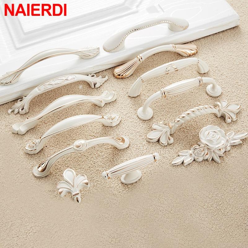 NAIERDI Ivory White Cabinet Handles Zinc Aolly Kitchen Cupboard Door Pulls Drawer Knobs European Fashion Furniture Handle
