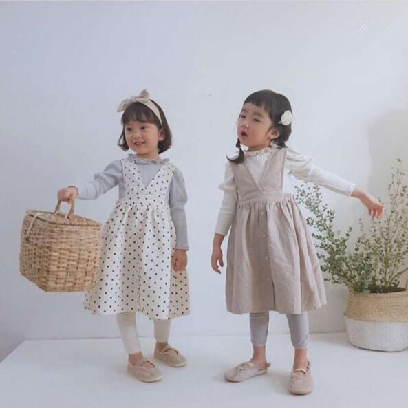 Dojhonkids 2020 outono meninas do bebê vestido de bolinhas coréia bonito na moda cinta vestido de princesa algodão crianças casuais roupas infantis