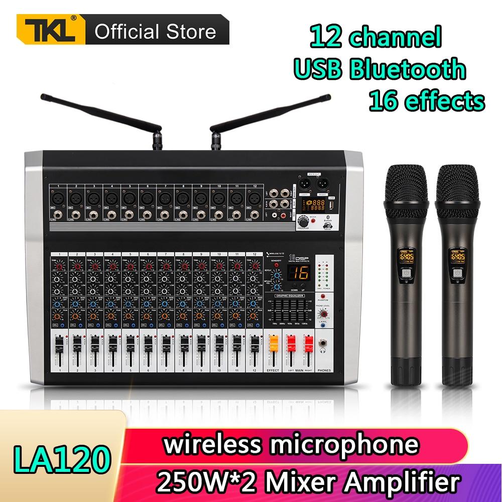 Misturador de Áudio sem Fio Profissional Canais Microfone Digital Som Mistura Bluetooth 250w * 2 Amplificador dj Mixer 48v Tkl La12 12