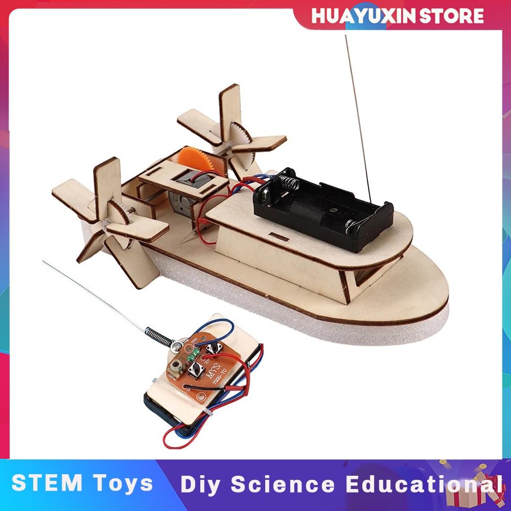 Kids DIY Paddle Wheel Ship Assembling Wireless RC Model Scientific Experiment Kit Educational STEM T