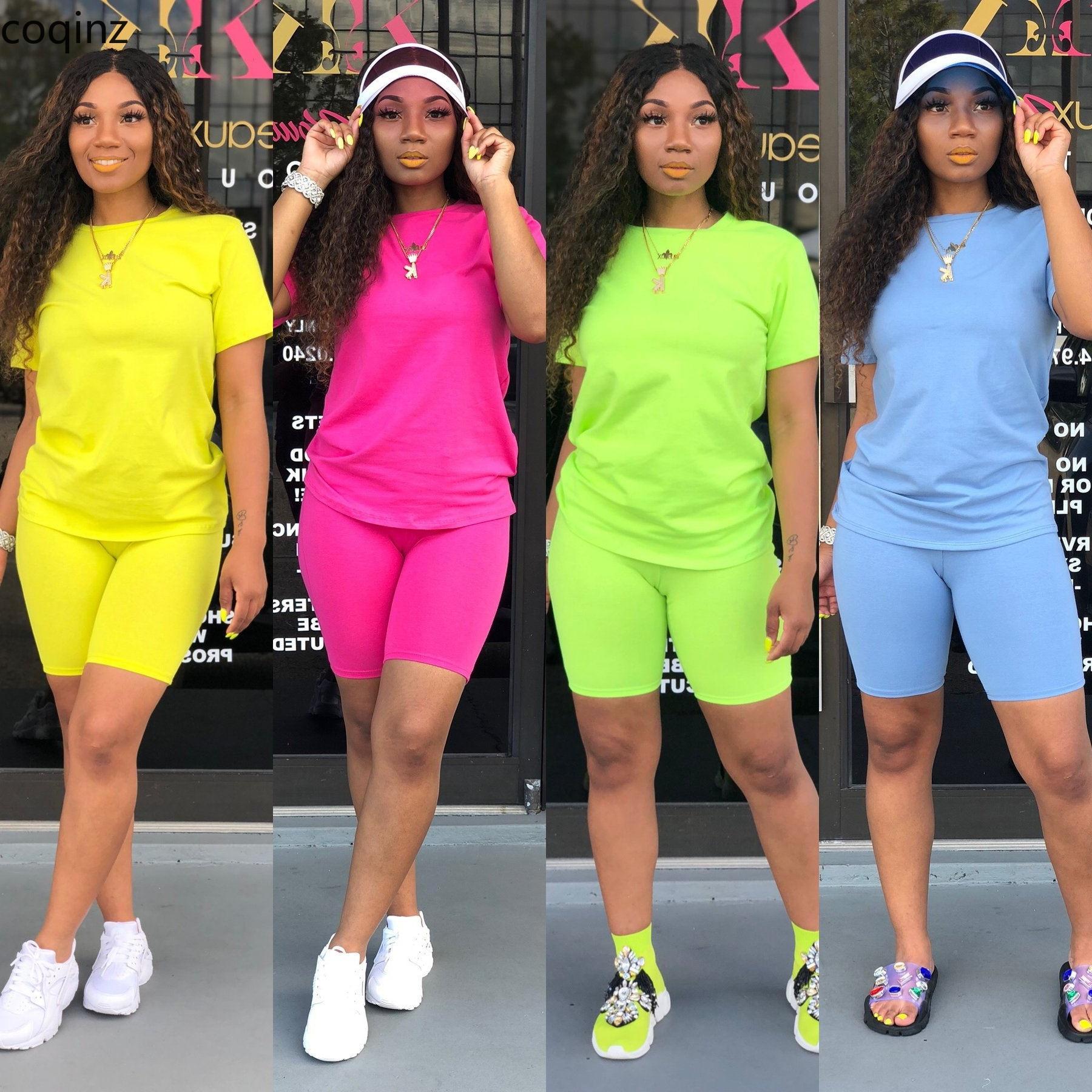 De talla grande de verano 2020, conjunto de dos piezas de neón superior y pantalones cortos 2 piezas conjunto de chándal de las mujeres conjuntos trajes Dresy Damskie LD8366