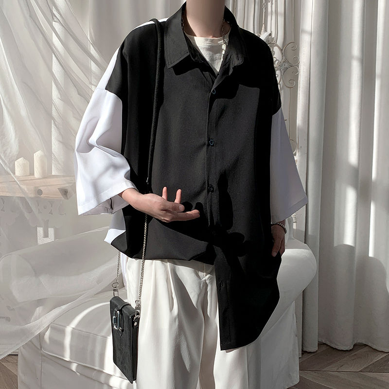 Summer Short-sleeved Shirt Men's Fashion Hit Color Oversize Casual Shirt Men Streetwear Korean Loose Dress Shirt Mens M-3XL