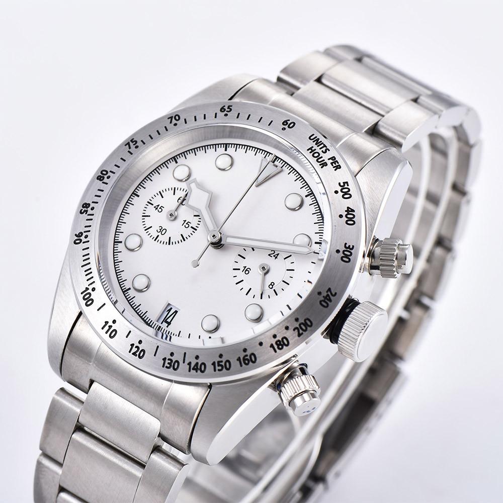 Reloj de cuarzo Schwarz Bay VK64, cronógrafo, esfera blanca, 41 MM, Mineral, vidrio, aluminio, bisel, puntero luminoso, pulsera de acero 01