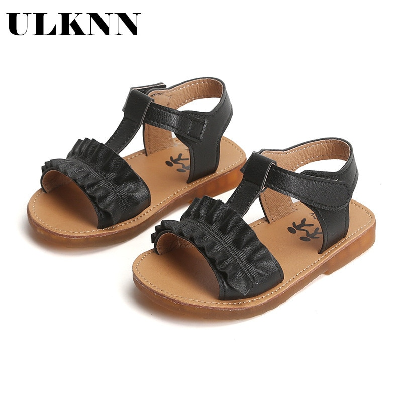 ULKNN 2021 Summer New childrens Sandals Slip  Casual Shoes Korean Girls Fashion Princess Flower