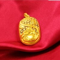 hi hollow out fo pendant 24k real yellow solid gold plated mens pendant wedding male jewelry gift