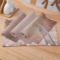 geometric printing cotton linen table mat anti slip heat insulation cutlery mat western food place pad