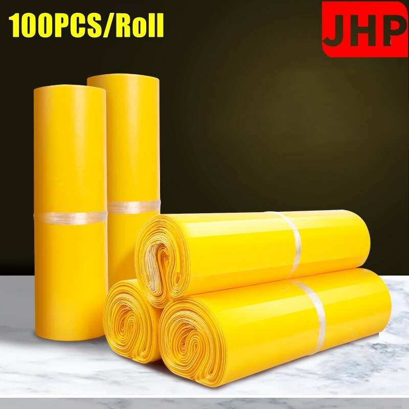 100PCS/Roll Yellow Color Self Adhesive Post Mailing Package,Poly Mailer Plastic Shipping Bags Envelope Bag For On-line Shopping