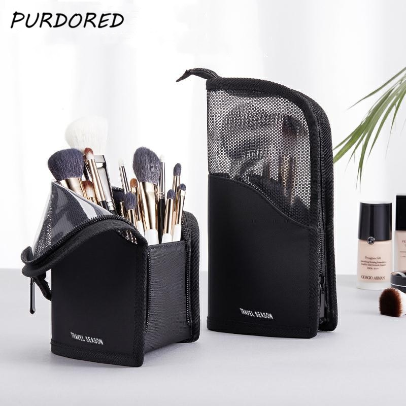 PURDORED 1 Pc Stand Cosmetic Bag for Women Clear Zipper Makeup Bag Travel Female Makeup Brush Holder