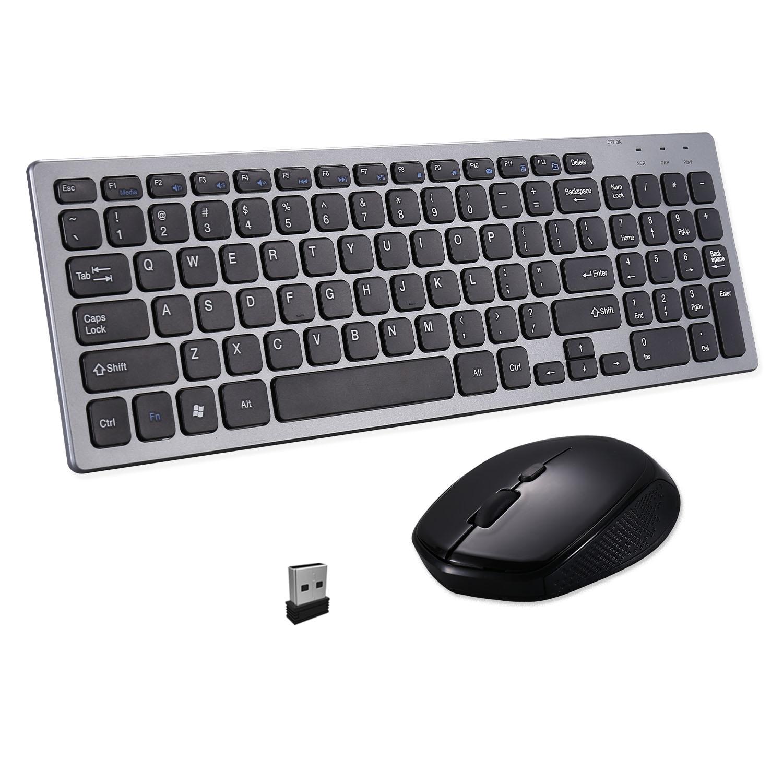 للكمبيوتر المحمول حاسوب شخصي مكتبي لاسلكي لوحة مفاتيح وماوس مجموعة الكمبيوتر الفئران زر صامت ماوس كومبو 2.4G