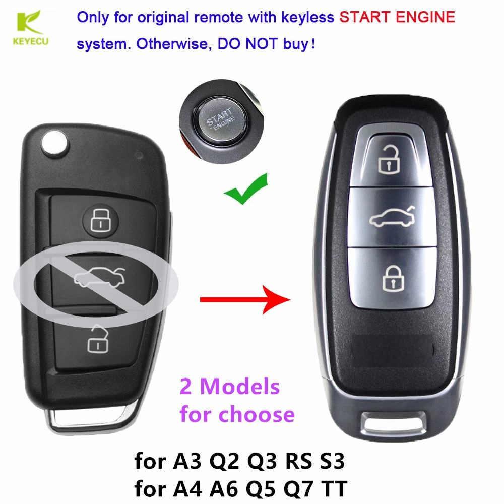 Запасной смарт-ключ KEYECU для Audi A3, A4, A6, A8, Q2, Q3, Q5, Q7, R3, RS3, RS5, TT