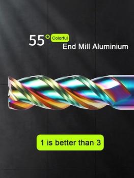 Colorful End Mill Aluminium HRC55 3F Milling Cutter Acrylic Wood Copper Plastic Cutting Tool CNC Maching Milling Tools Endmils