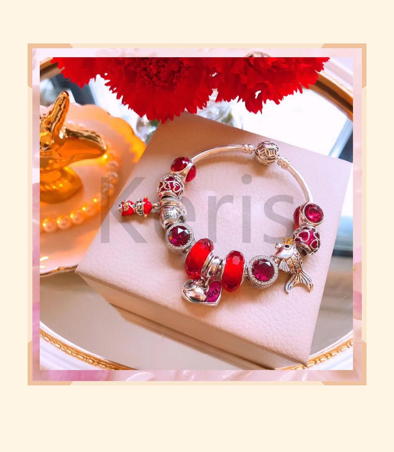Reproducción de alta calidad 11 100% 925 encanto de plata pura cuentas de esmalte rojo diseño de carpa pulsera envío gratis